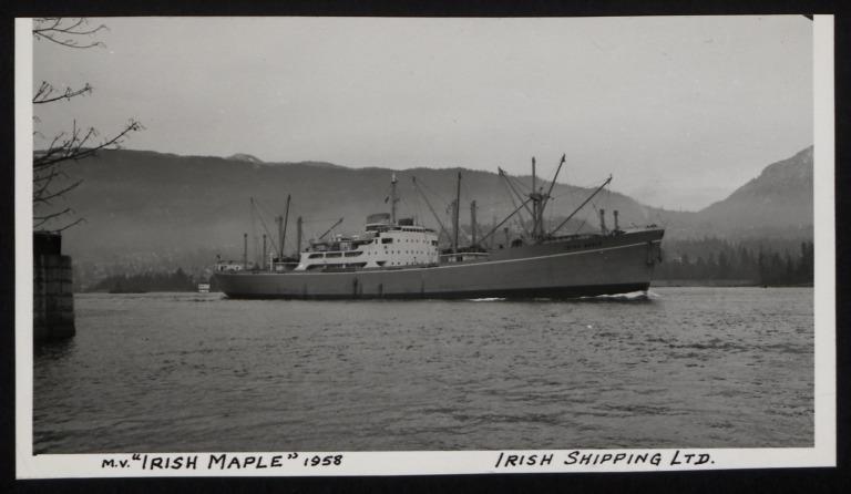 Photograph of Irish Maple, Irish Shipping Limited card