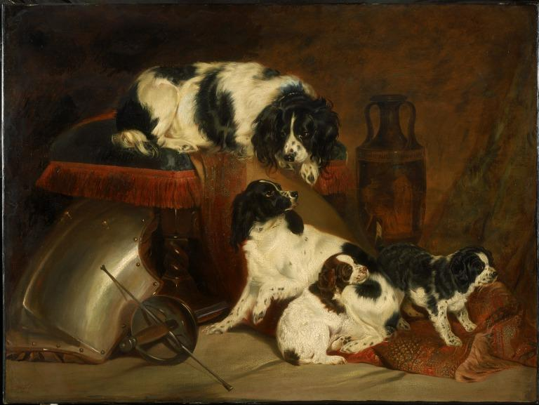 Two King Charles Spaniels and Their Pups card