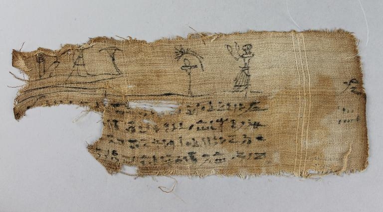 Inscribed Mummy Bandages and Papyrus card