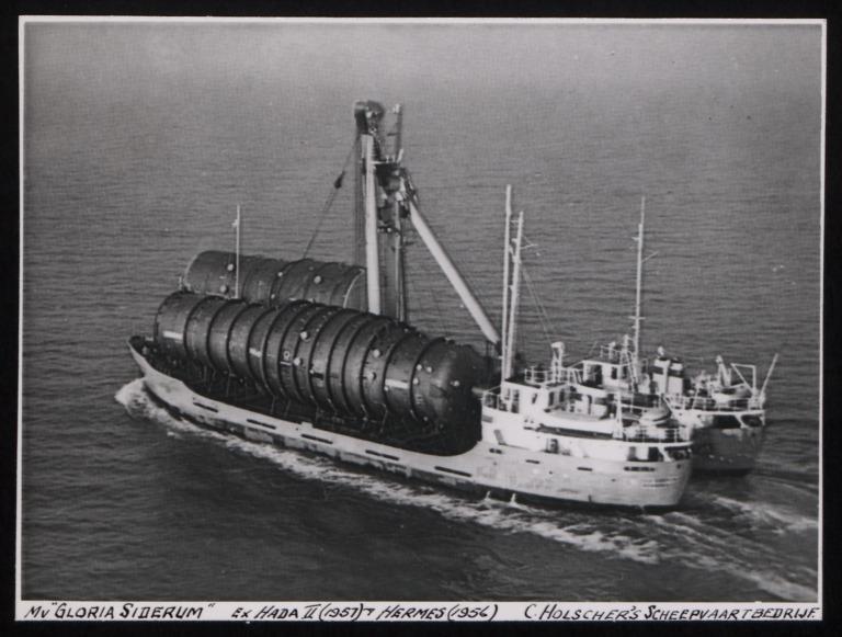 Photograph of Gloria Siderum (ex Hada II, Hermes), Holscher Shipping card