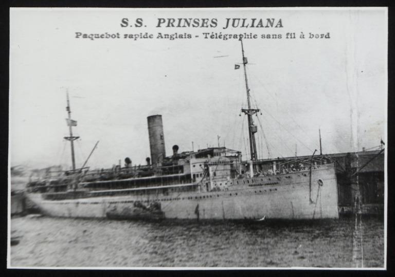 Photograph of Prinses Julians (r/n Costa Rica), Stoomvaart Maatschappij Nederland card