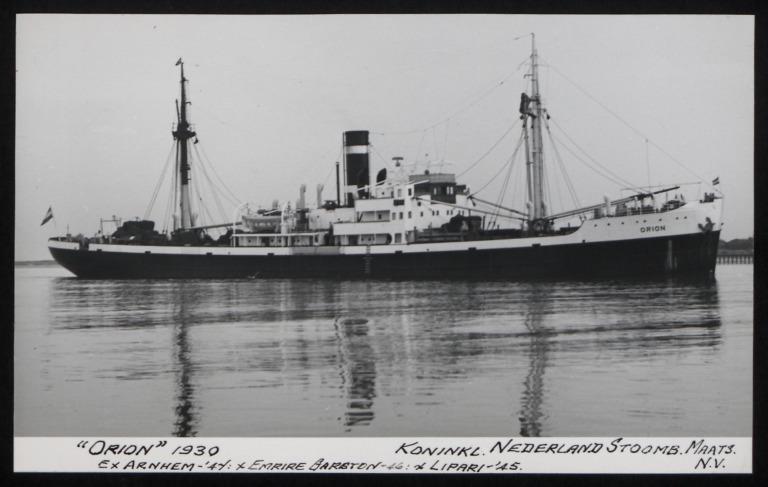 Photograph of Orion (ex Arnhem, Empire Garston, Lipari), Koninklijke Nederlandsche Stoomboot Maatschappij card