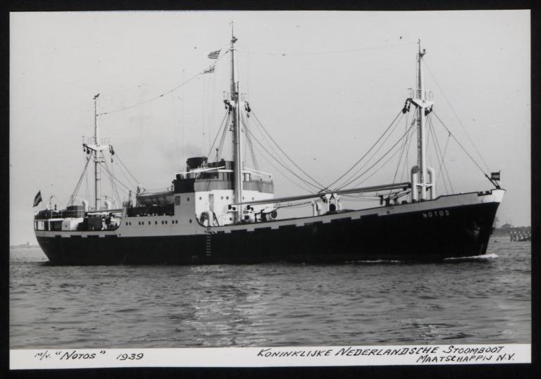 Photograph of Notos, Koninklijke Nederlandsche Stoomboot Maatschappij card