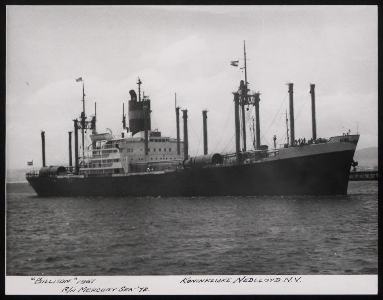 Photograph of Billiton (r/n Mercury Sea), Koninklijke Nedlloyd card