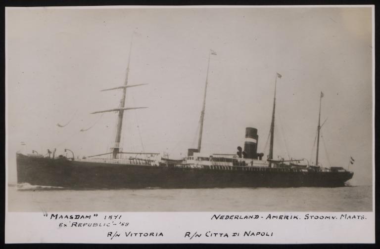 Photograph of Maasdam (ex Republic, Vittoria, Citta Di Napoli), Holland Amerika Line card