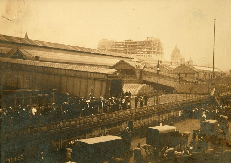 Photograph of the Riverside Railway Station and Liverpool Landing Stage. card