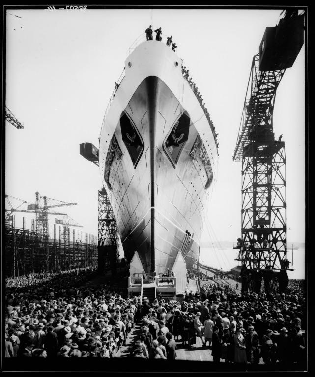 Photograph of the launch of Mauretania II, Cammell Lairds, Birkenhead card
