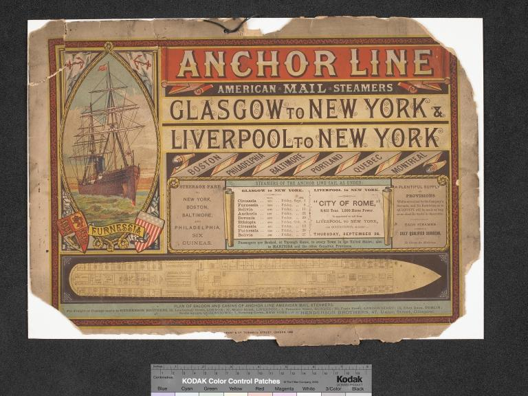 Anchor Line poster, Furnessia, Glasgow-New York and Liverpool-New York Sep-Oct 1882. card