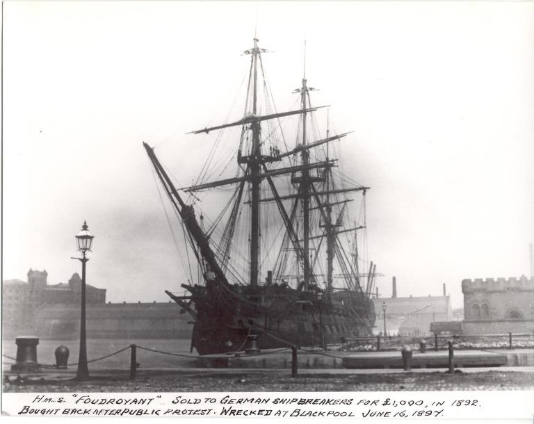 Photograph of HMS Foudroyant, Admiralty card