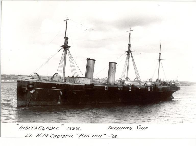 Photograph of Indefatigable (ex HM Cruiser 'Phaeton'), Admiralty card