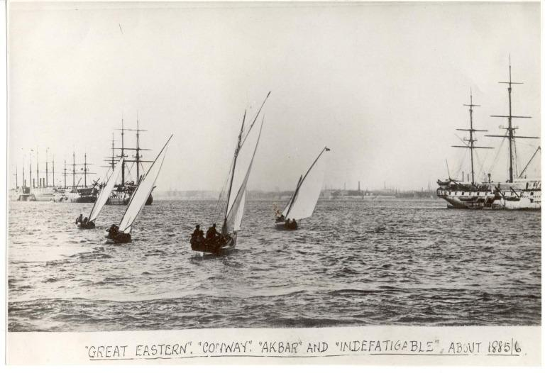 Photograph of Great Eastern, Conway, Akbar (ex HMS Hero), Indefatigable, Eastern Steam Navigation Co card
