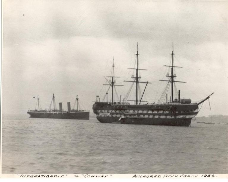 Photograph of Indefatigable and Conway, Admiralty card