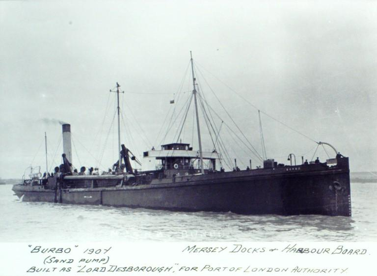 Photograph of Burbo (ex Lord Desborough), MDHB (Mersey Docks and Harbour Board) card