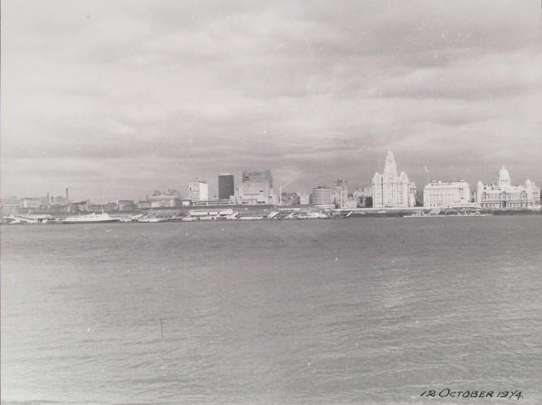 Photograph of Landing Stage and Waterfront Liverpool card