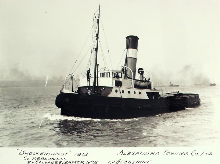 Photograph of Brockenhurst (ex Kersoness), Alexandra Towing Company card