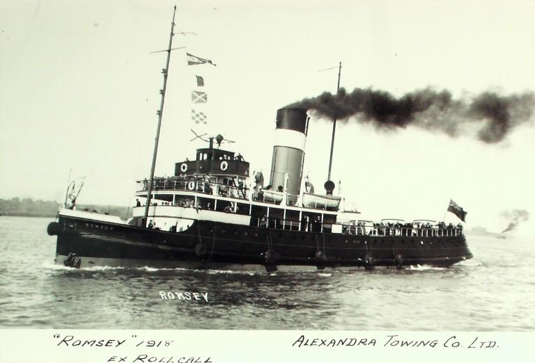 Photograph of Romsey (ex Rollcall, later Minotaure), Alexandra Towing Company card