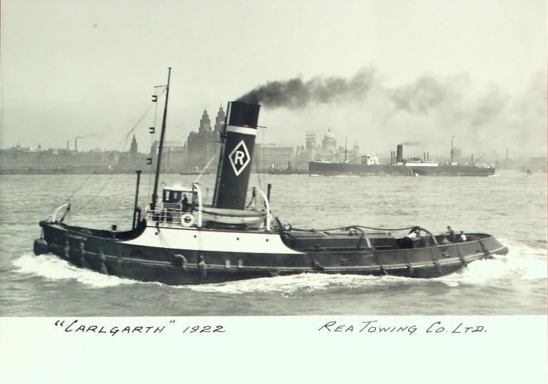 Photograph of Carlgarth, Rea Towing Company card