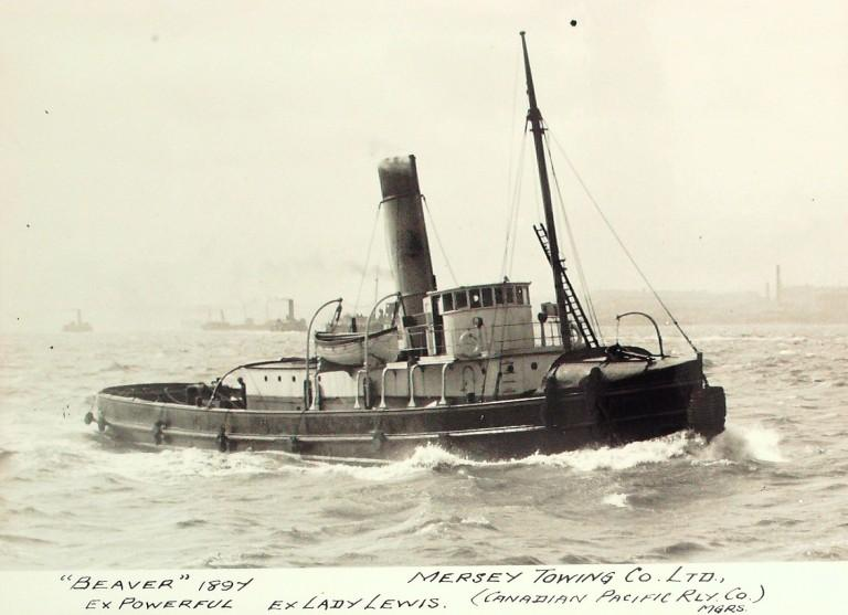Photograph of Beaver (ex Powerful), Mersey Towing Co card
