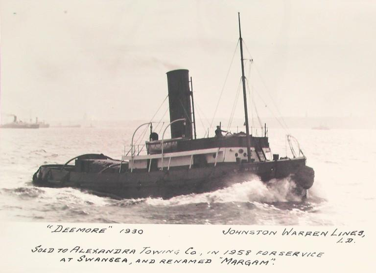 Photograph of Deemore, Johnston Warren Line card