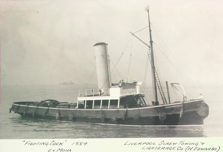 Photograph of Fighting Cock (ex Mona), Liverpool Screw Towing Company card