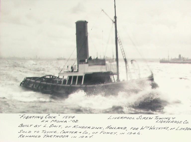 Photograph of Fighting Cock (ex Mona, Trethosa), Liverpool Screw Towing Company card