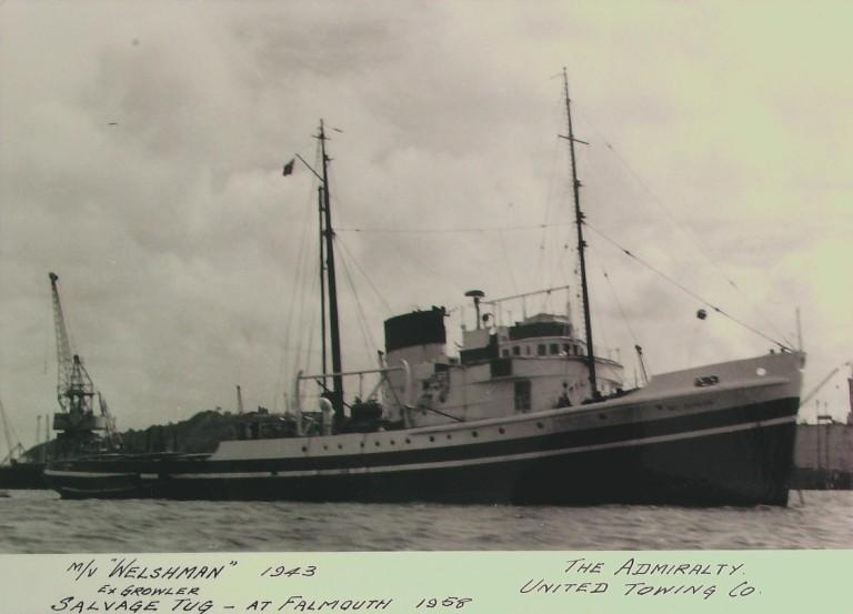 Photograph of Welshman (ex Growler), Admiralty card