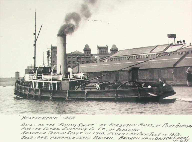 Photograph of Heathercock, Liverpool Screw Towing Company card
