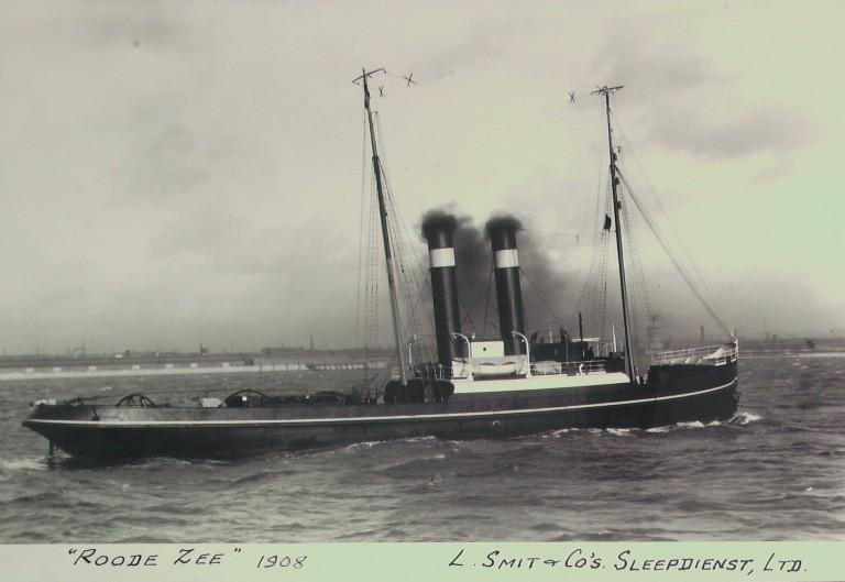 Photograph of Roode Zee, L Smit and Company Internationale Sleepdienst card
