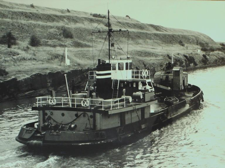 Photograph of Unidentified salvage tug card