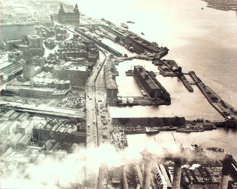 Photograph of View of North Docks from Clarence Power Station to Albert Dock card
