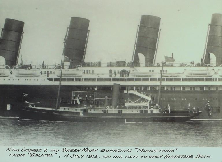 Photograph of Mauretania and Galatea, Cunard Line and MDHB (Mersey Docks and Harbour Board) card