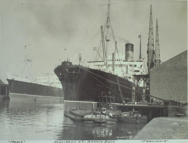 Photograph of Media and Franconia, Cunard Line card