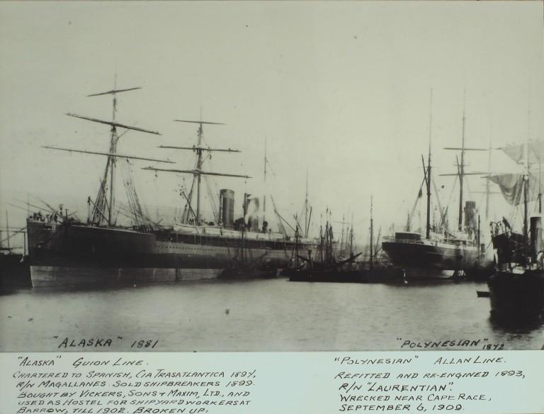 Photograph of Alaska and Polynesian, Guion Line and Allan Line card