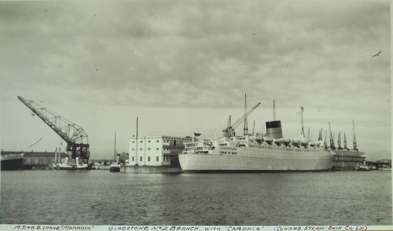 Photograph of Crane 'Mammoth' at Gladstone No. 2 Branch with Caronia, MDHB (Mersey Docks and Harbour Board) card