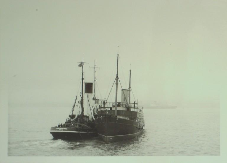 Photograph of Galatea and Merchantman, MDHB (Mersey Docks and Harbour Board) card