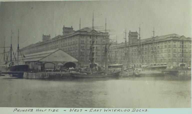 Photograph of Princes Half Tide and East and West Waterloo Docks card