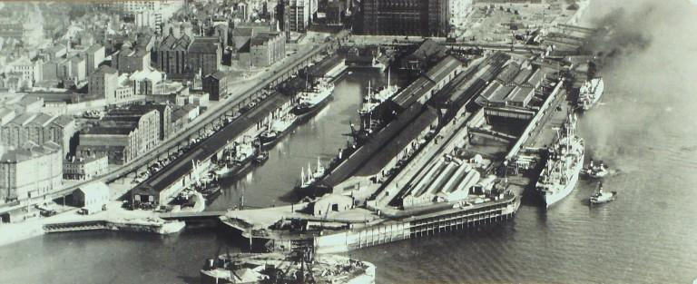 Photograph of River Frontage with Princes Dock and Overhead Railway card
