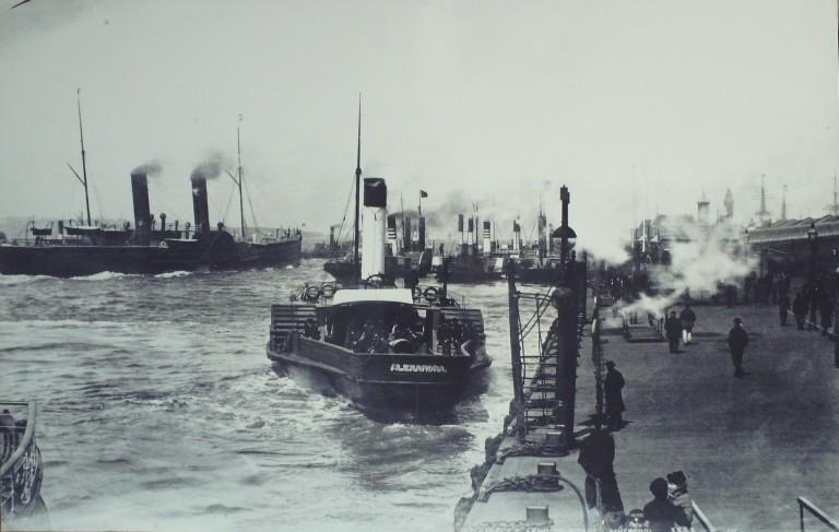 Photograph of Paddle Ferries off Princes Landing Stage card