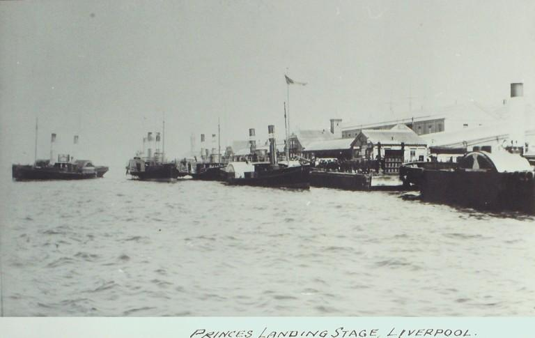 Photograph of Princes Landing Stage with Paddle Steamers card