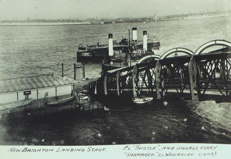 Photograph of Thistle and Luggage Ferry Shamrock at New Brighton Stage, Borough of Wallasey card