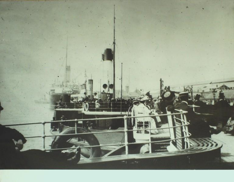 Photograph of View of Canadian Pacific Empress Boat from Seacombe ferry Boat, Canadian Pacific card