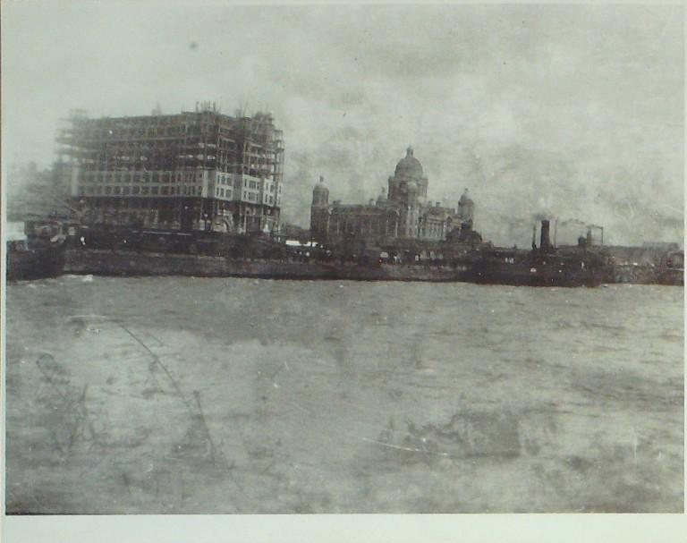 Photograph of Liver Building under Construction card
