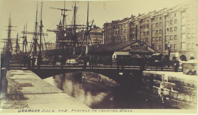 Photograph of Georges Dock and passage to Canning Dock card