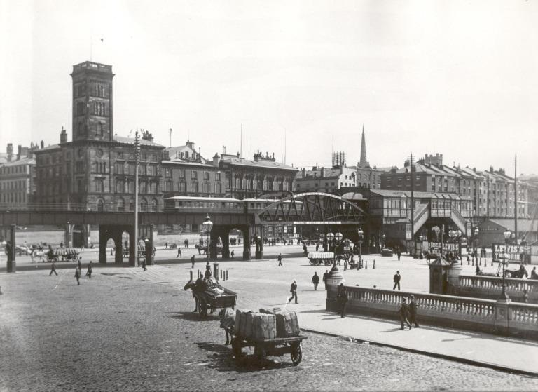 Photograph of Overhead Railway Seen from top of Floating Roadway 1894 card