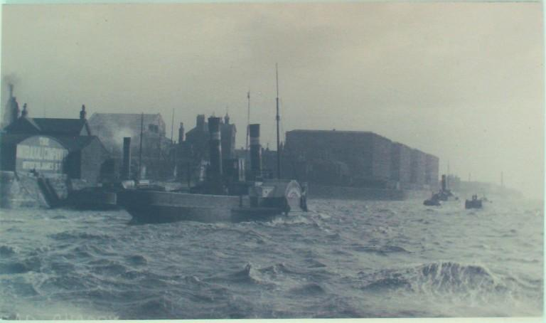 Photograph of Unidentified paddle steamer on Liverpool side of Mersey card