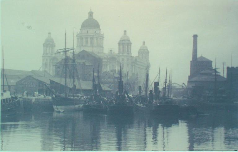 Photograph of Port of Liverpool Building From Canning Dock card