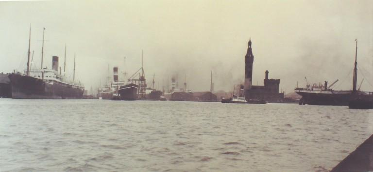 Photograph of West Float Birkenhead looking towards Liverpool card