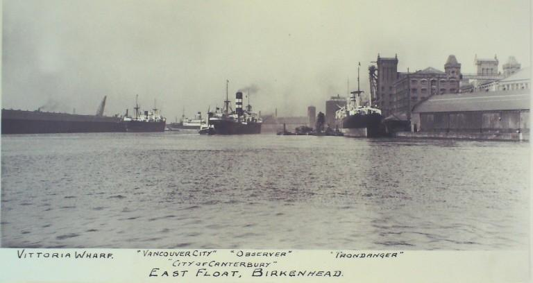 Photograph of Vancouver City, Observer, City of Canterbury, Trondanger card