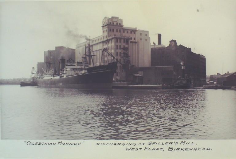 Photograph of Caledonian Monarch at Spillers Mill West Float Birkenhead, Raeburn and Verel card