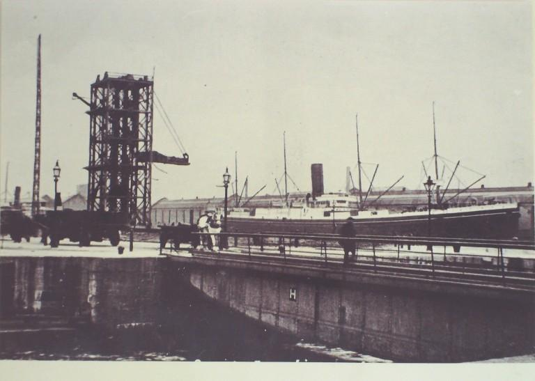 Photograph of Dock Scene with Gantry Crane and Horse Drawn Vehicles card